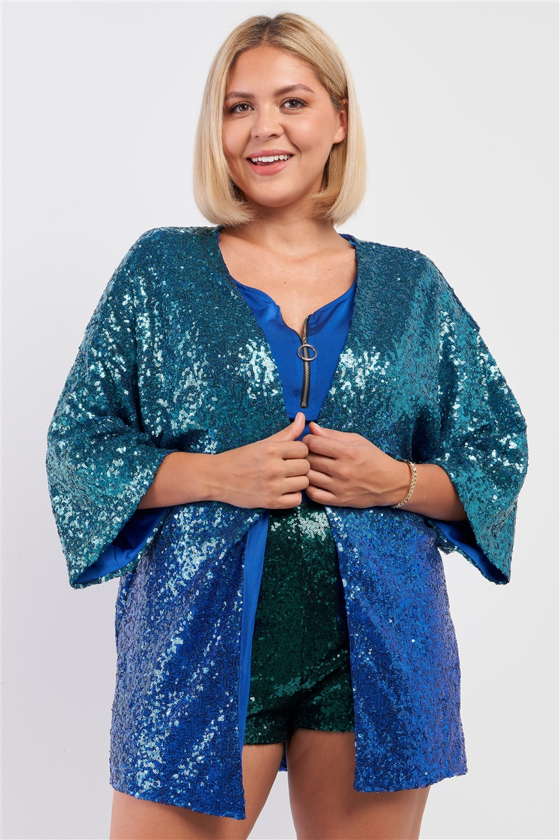 Junior Plus Blue & Green Gradient Effect Shiny Sequin Open Front Midi Sleeve Blazer /2-2-2