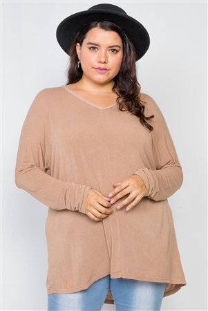 Plus Size Coca Basic Oversized Long Sleeve Top