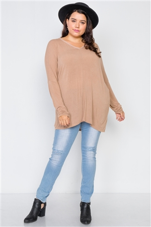 Cocoa Basic Plus Size Oversized Long Sleeve Top