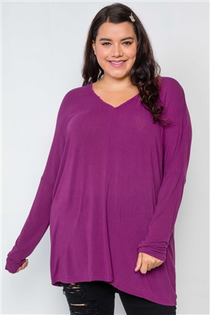 Plus Size Magenta Basic Oversized Long Sleeve Top