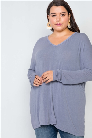 Plus Size Slate Grey Basic Oversized Long Sleeve Top