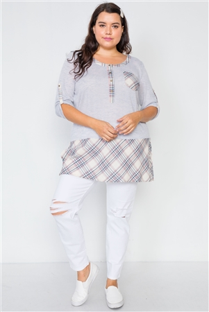 Plus Size Heather Grey Plaid Combo Plus Size Top