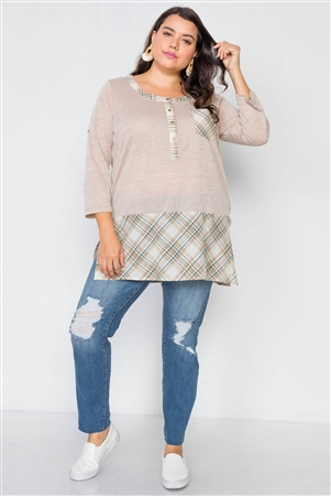 Plus Size Taupe Plaid Combo Plus Size Top
