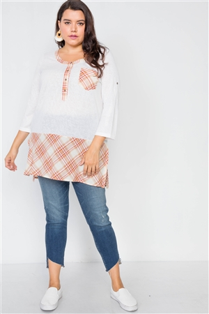 Plus Size White Plaid Combo Plus Size Top