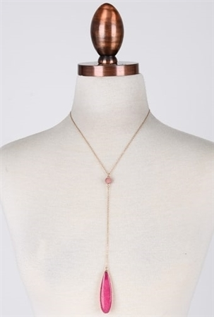 Pink Double Natural Stone Charm Necklace