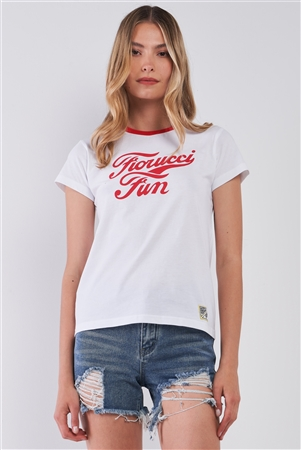 Fiorucci Fun White & Red Printed Logo T-Shirt For Her /2-1-2