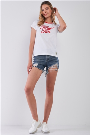 Fiorucci Fun White & Red Printed Logo T-Shirt For Her /2-2-2