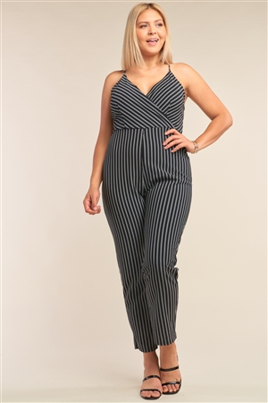 Junior Plus Size Black & White Striped Wrap Sleeveless Criss-Cross Strap Deep Plunge V-Neck Jumpsuit