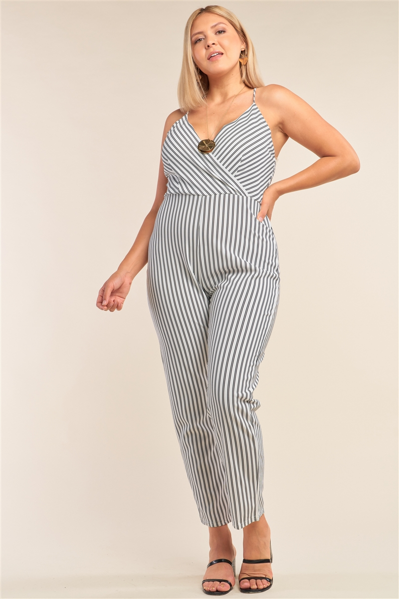 Junior Plus Size Black&White Striped Wrap Sleeveless Criss-Cross Strap Deep Plunge V-Neck Jumpsuit /2-2-2