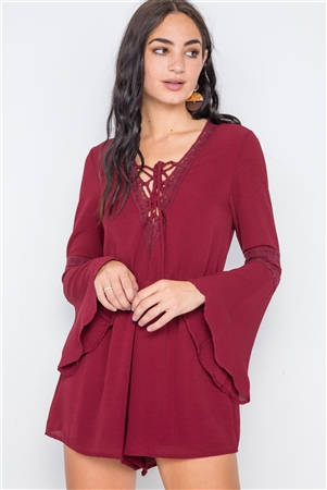 Burgundy Crochet Bell Sleeve Lace-Up Romper