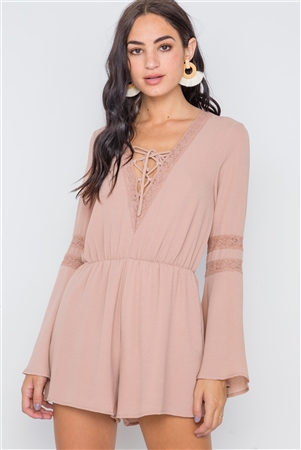 Taupe Crochet Bell Sleeve Lace-Up Romper
