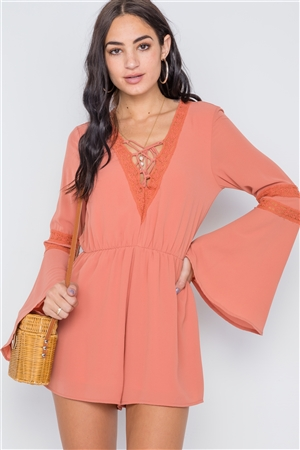 Terra Cota Crochet Bell Sleeve Lace-Up Romper