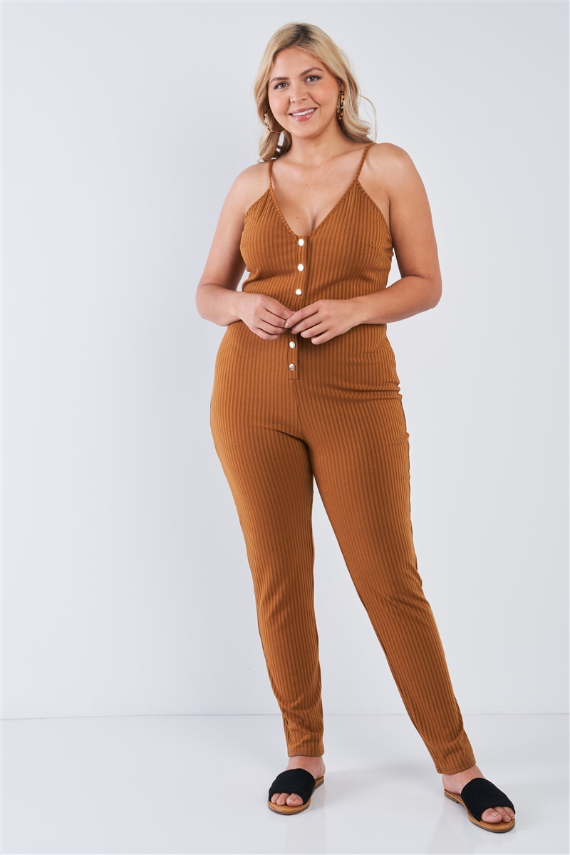 Junior Plus Size Mustard Ribbed Knit Button Down Spaghetti Strap Jumpsuit