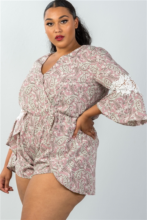 Plus Size Mauve & Floral Crochet Sleeves Surplice Romper