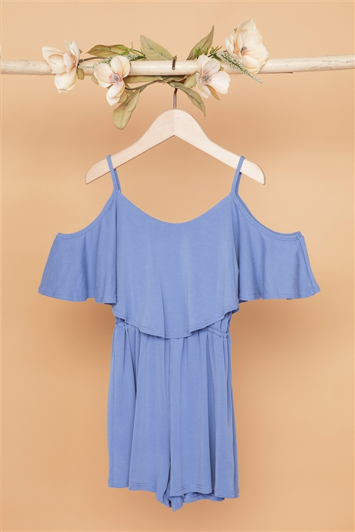 Girls Blue Cold Shoulder Cami Romper