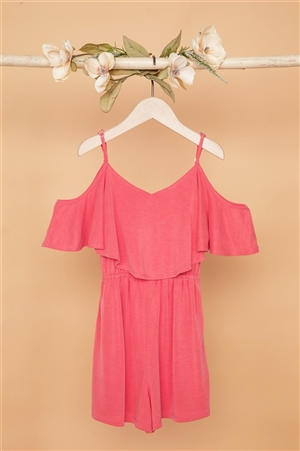 Girls Mauve Cold Shoulder Cami Romper