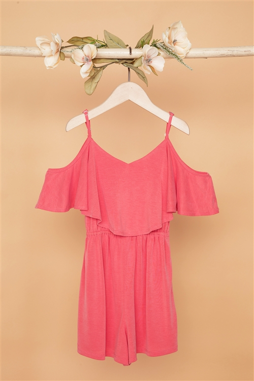 Girls Peach Cold Shoulder Cami Romper