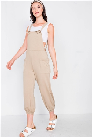Coffee Casual Cinched Adjustable Overalls