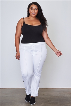 Plus Size White Side Metal Grommet Embellished Pants