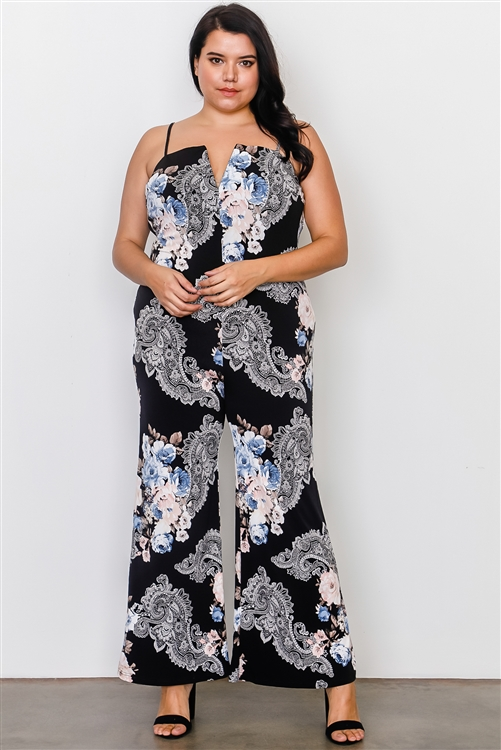 Plus Size Black And Floral Deep V Wire Neckline Jumpsuit