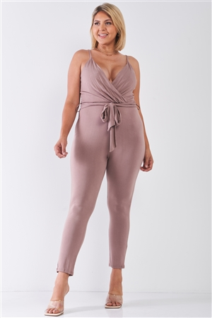 Plus Size Mocha Belted Jumpsuit