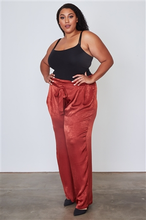 Plus Size Rust Frill Waist Belted Pants