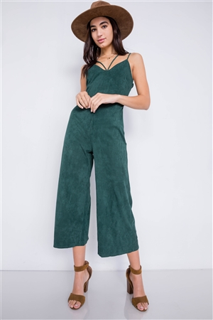 Green Corduroy Suede Cami V-Neck Straps Gaucho Midi Jumpsuit