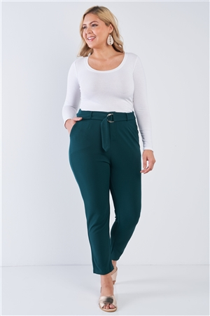 Junior Plus Size Hunter Green High Waisted Ankle Length Pants