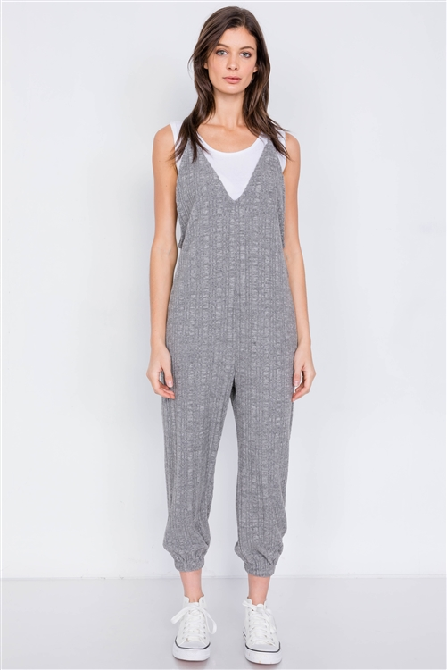 Grey Ribbed V-Neck Knit Cotton Cinched Ankle Jumpsuit