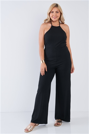 Junior Plus Size Black Halter Neck Rib Knit Wide Leg Jumpsuit