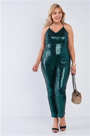 Junior Plus Hunter Green Sequin V-Neck Criss Cross Open Back Bodycon Jumpsuit