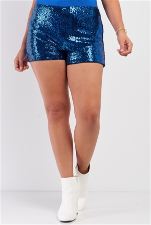 Junior Plus Royal Blue Shiny Sequin High Waisted Mini Shorts /2-2-2