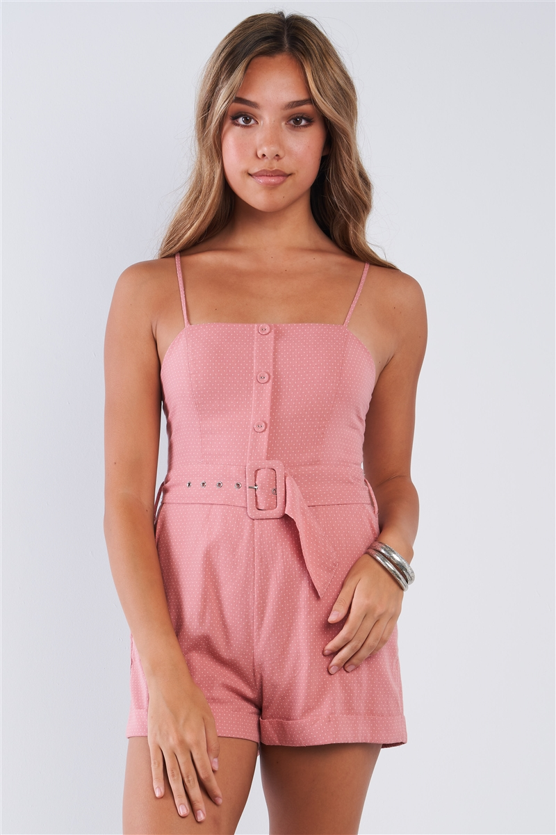Coral Pink Polka Dot Belted Button Up Romper