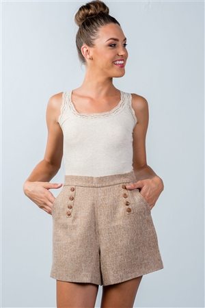 Brown Button-Detail Mini Shorts