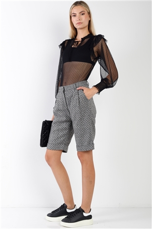 Black Knee Length Bermuda Shorts