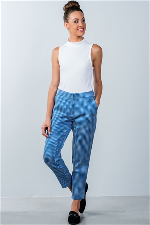 Blue Printed Ankle Length Pants