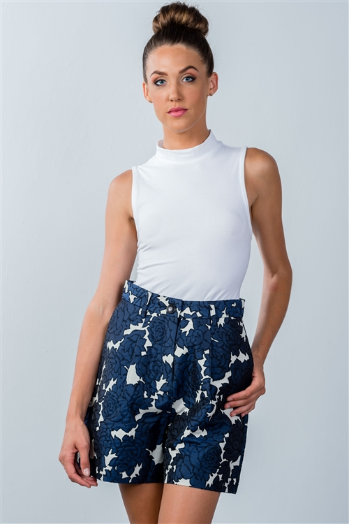 Navy Color-Block Floral Pattern Shorts