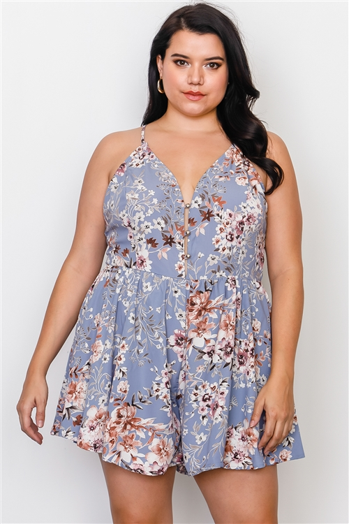 Plus Size Blue Floral Print Lace Trim Cut Out Back Romper