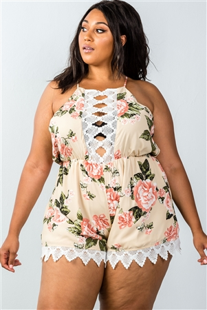 Plus Size Taupe Sleeveless Crochet Trim Romper