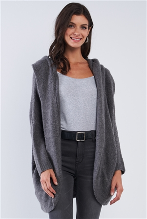 Charcoal Cuddly Hooded Long Sleeve Cardigan Sweater