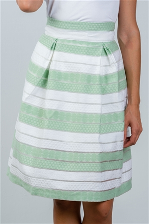 Mint Sheer Stripe Midi Skirt