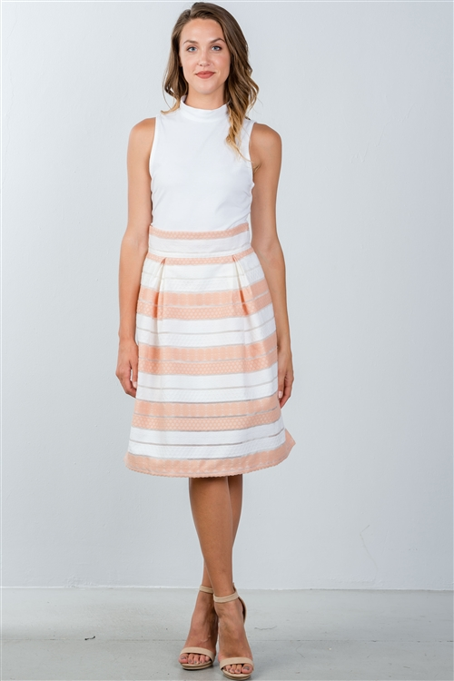 Peach Sheer Stripe Midi Skirt