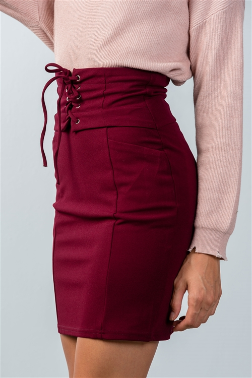 Burgundy Lace Up Pencil Mini Skirt