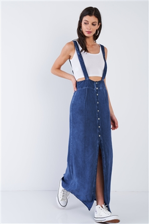 Navy Adjustable Overall Acid Washed Maxi Skirt