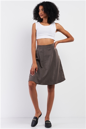 Grey Knee-Length Midi Skirt With Side Pockets