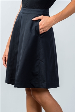 Navy Knee-Length Midi Skirt With Side Pockets