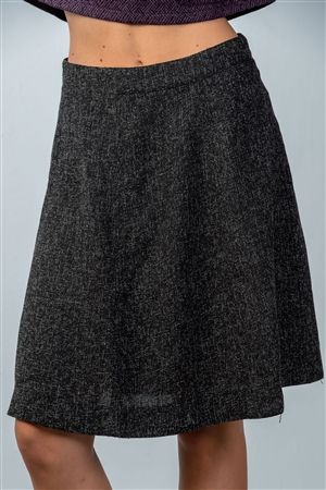 Black Knit Knee-Length Skirt