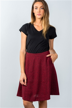 Burgundy Knit Knee-Length Skirt