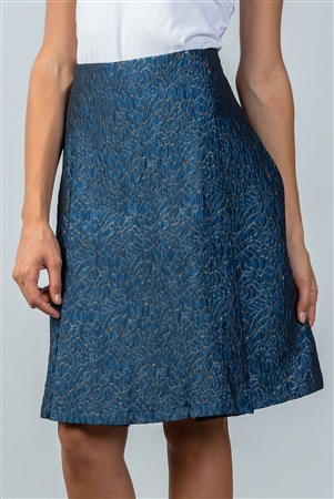 Blue Floral Pattern Textured Pleated Skirt