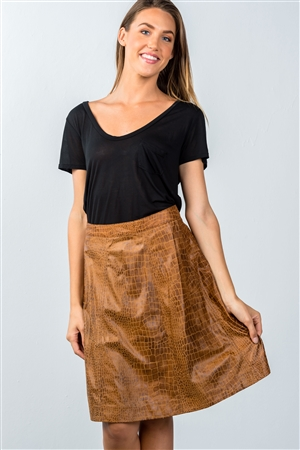 Brown  Animal Print Mini Skirt